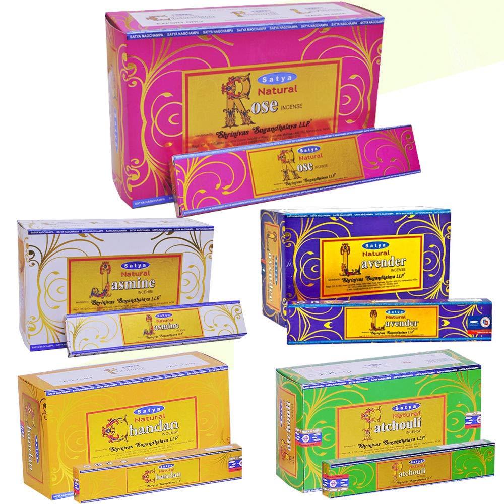 Satya Natural Lavender Incense Sticks/Agarbatti   15 Grams x 12 Packs   Box of 180 Grams   Export Quality by Satya Sai Baba