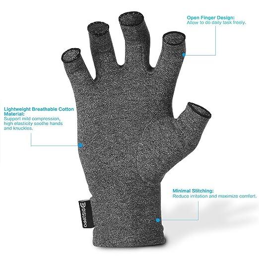 DISUPPO Arthritis Handschuhe Fingerlose Handschuhe f/ür M/änner und Frauen Gaming Tippen Paar Rheumatische Arthritis Kompressionshandschuhe f/ür Schmerzlinderung