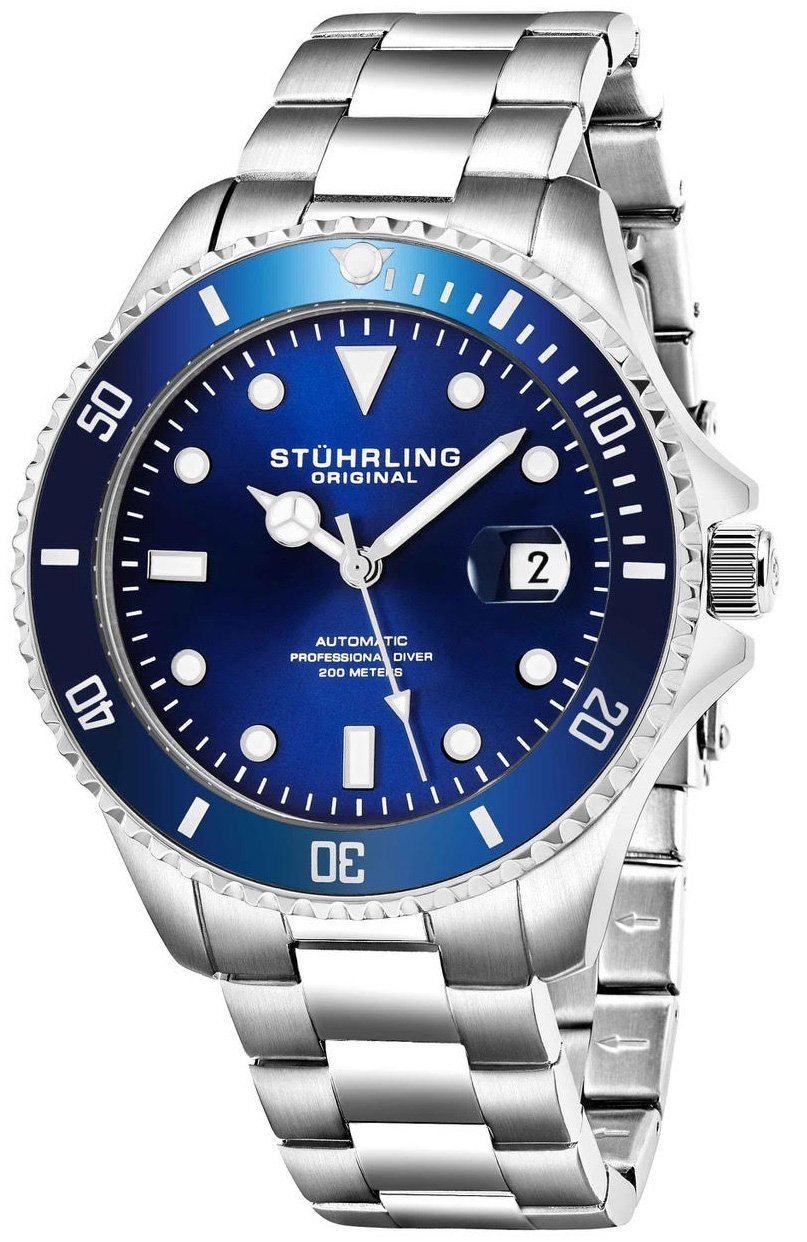 Stuhrling Original Mens Stainless Steel Automatic Self Wind Dive Watch Deep Blue Dial 200M Water Resistant Unidirectional Ratcheting Bezel Screw Down Crown Sport Watch 792 Series