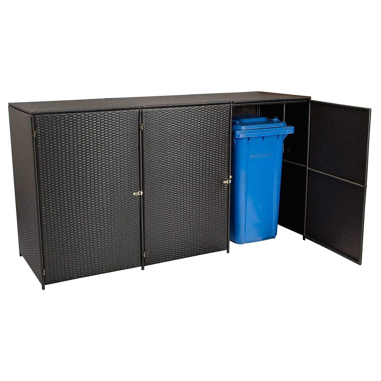 Gartenmoebel Mülltonnenbox für 3 Tonnen klein 66x189x109cm bis 120 Liter, Stahl + Polyrattan Mocca Mülltonnenaufbewahrung