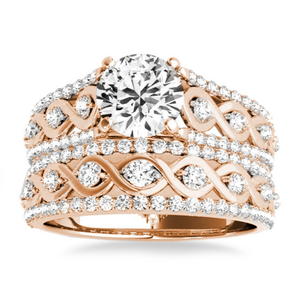 0f440e083 Amazon.com: Graduating Diamond Side Stone Accented Twisted Bridal Set 14k  Rose Gold 0.75ct: Jewelry