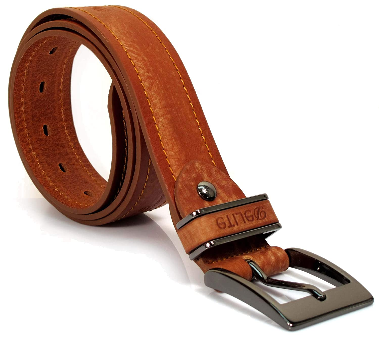 UM1 Mens Real Genuine Leather Tan Brown Belt 1.5 Wide S-XL Thick Casual Jeans