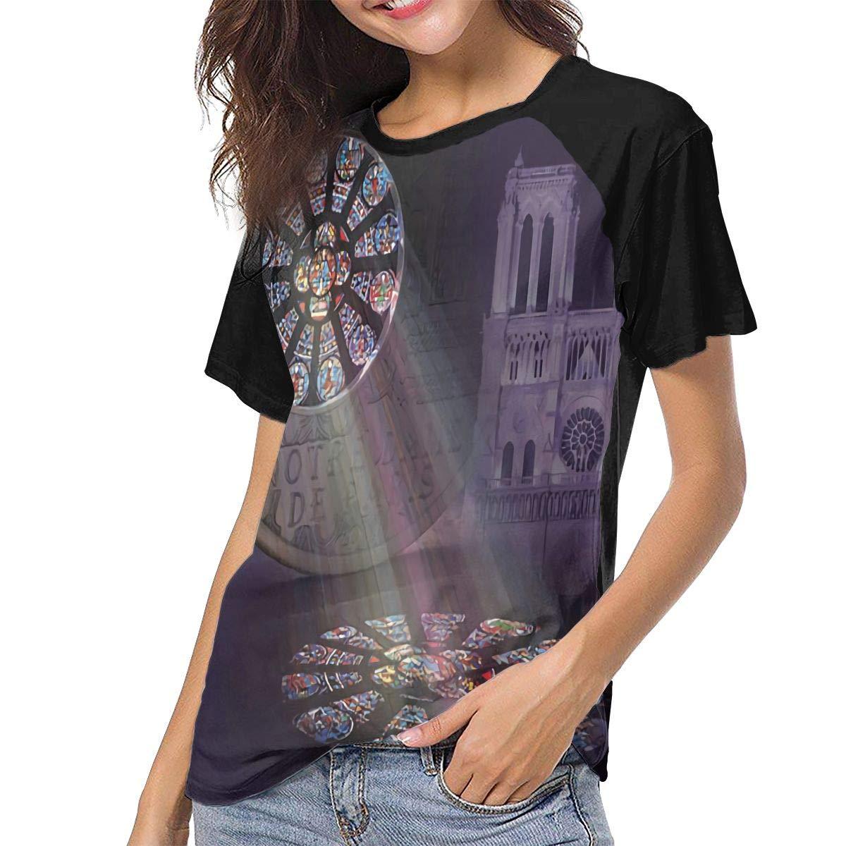 Womens Notre Dame De Paris Window Shadow 3D Printed Baseball T-Shirt Raglan Shirts Tee Tees