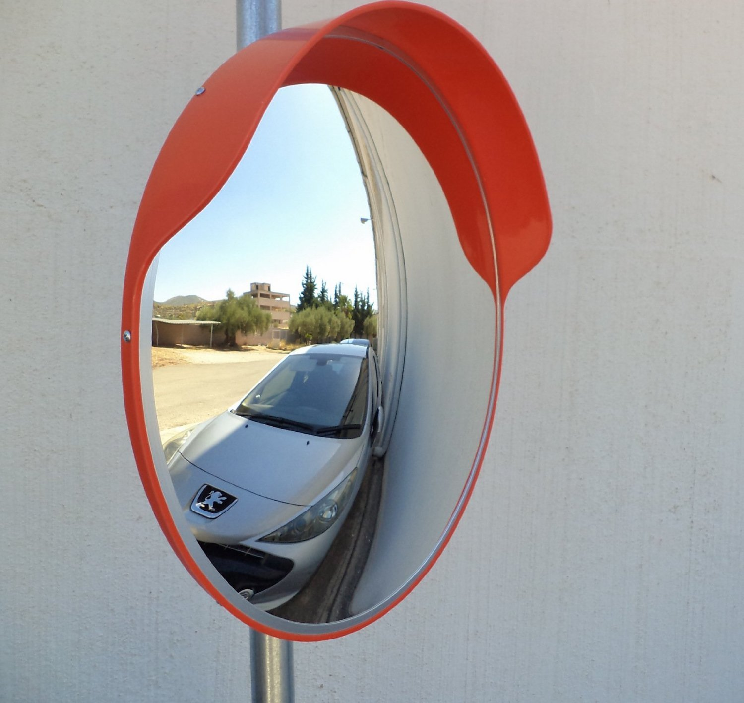 SNS SAFETY LTD SCM-60-o Safety Convex Mirror, Diameter 24'' (60cm), for Road Safety and Store Security, with Adjustable Fixing Bracket for Pole 1 1/2'' (48 mm) by SNS SAFETY LTD