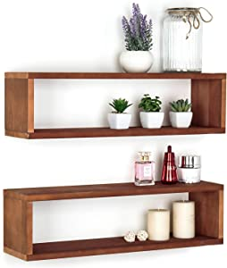 Natural Wood Finish Wood Wall Mounted 24-Inch Floating Shelf, Rectangular Display Shadow Boxes, Set of 2