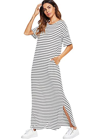 6cbbe484464 Romwe Women s Summer Beach Short Sleeve Loose Pocket Split Maxi Dress with  Pocket White XS