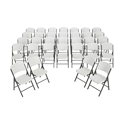 amazon com lifetime folding chairs 2802 white granite color plastic