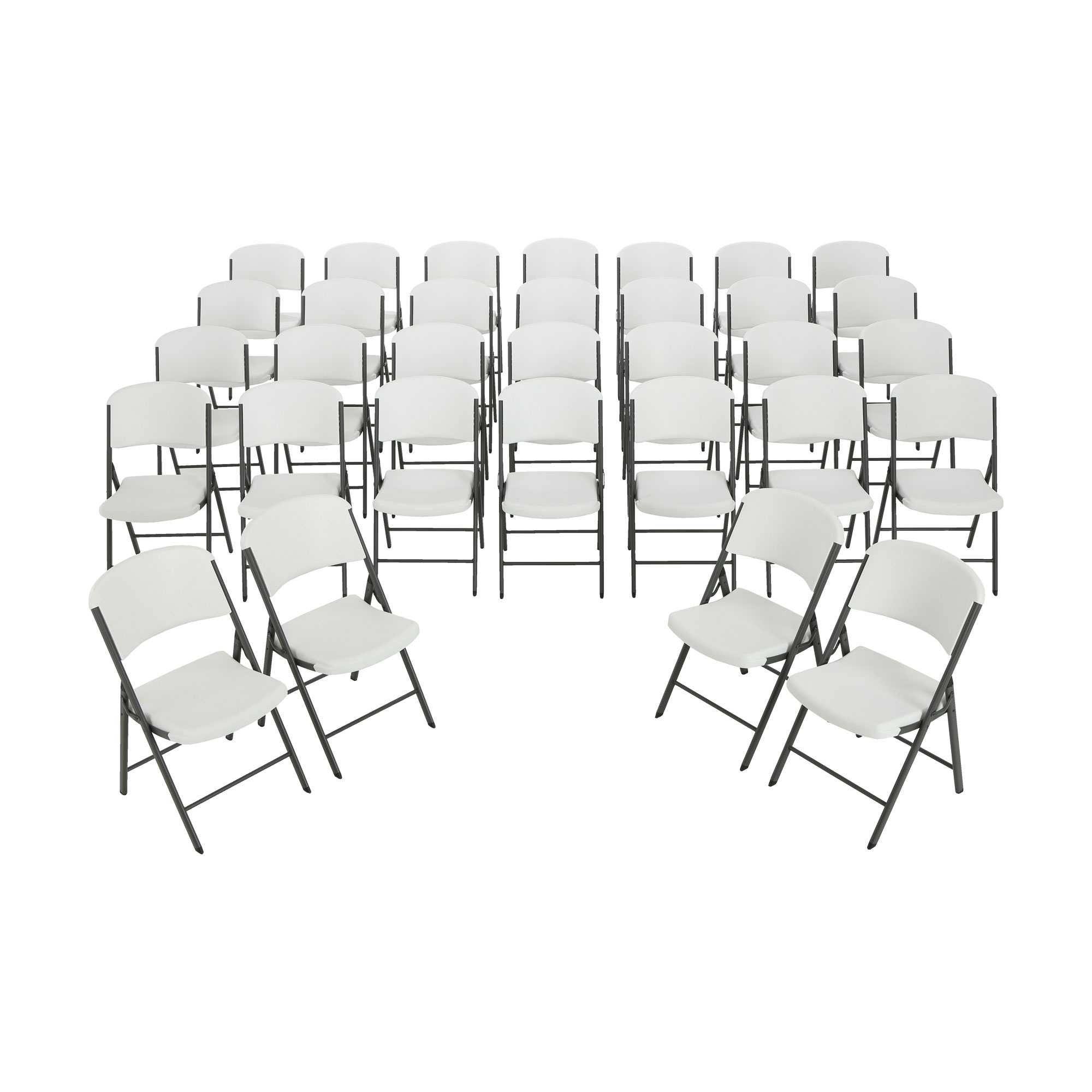 Lifetime Folding Chairs 2802 White Granite Color Plastic 32 Pack