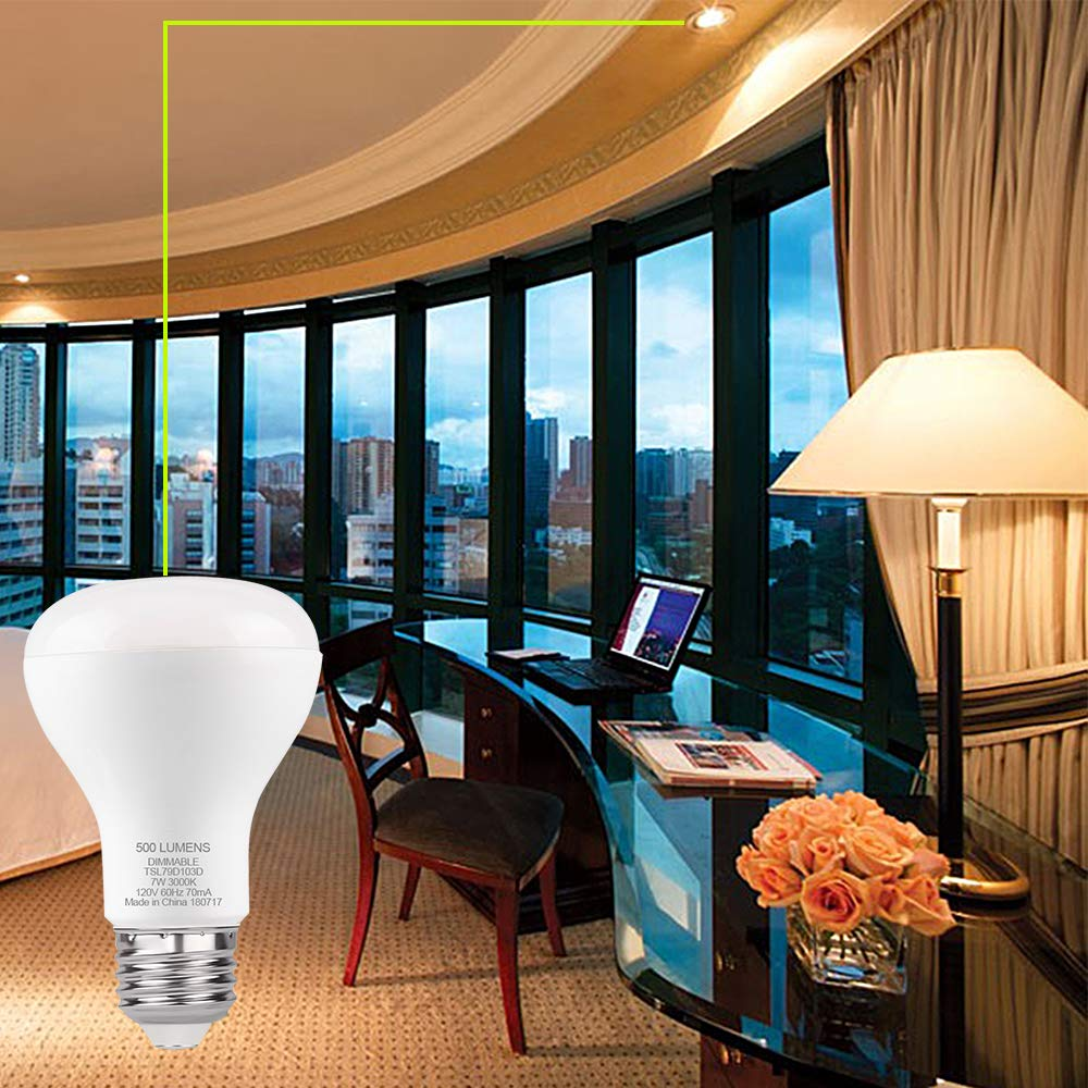 GALYGG R20 Dimmable LED Bulb 7W (50 Watt Equivalent) 500 Lumens 3000K (Warm White) E26 Medium Screw Base Flood Light Bulbs - 4 Pack