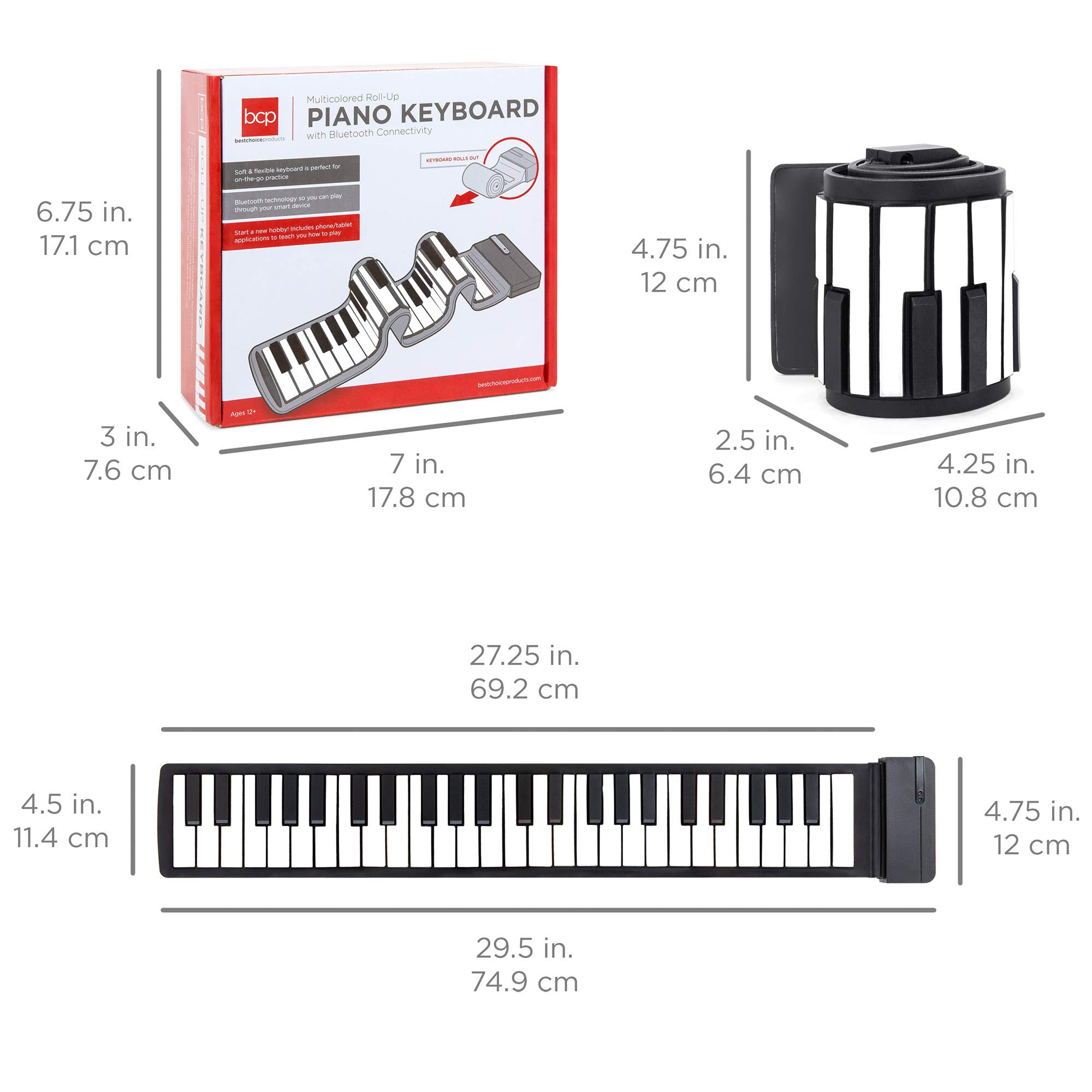 Best Choice Products Kids 49-Key Portable Flexible Roll-Up Piano Keyboard Musical Educational Toy Instrument w/Learn-To-Play App Game, Bluetooth Phone Pairing, Note Labels, USB Charging - White by Best Choice Products (Image #6)