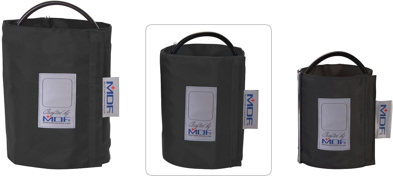 Manguito MDF® sin látex para presión arterial - Adulto grande - Un tubo - Anilla en D - Negro