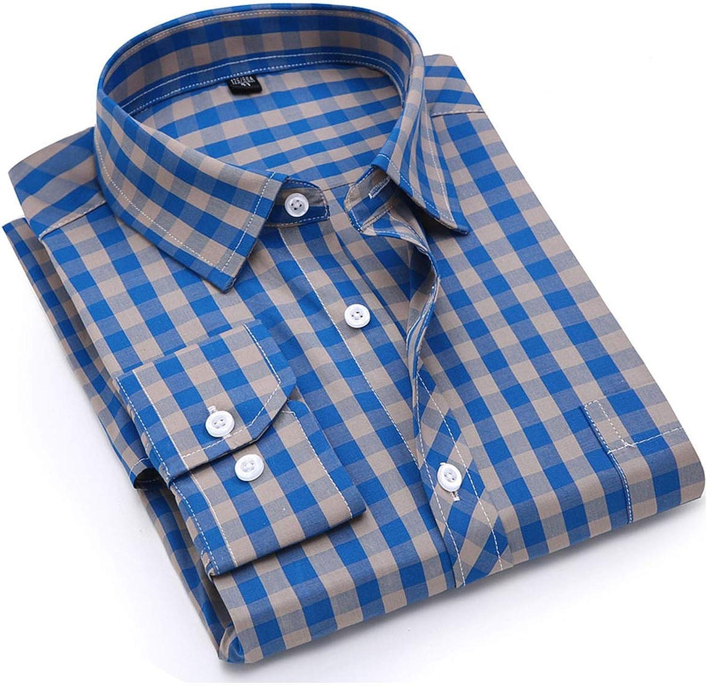 FULLINE Men Plaid Shirt 100% Cotton Casual Long Sleeve Shirt Soft Comfort Slim Fit Styles