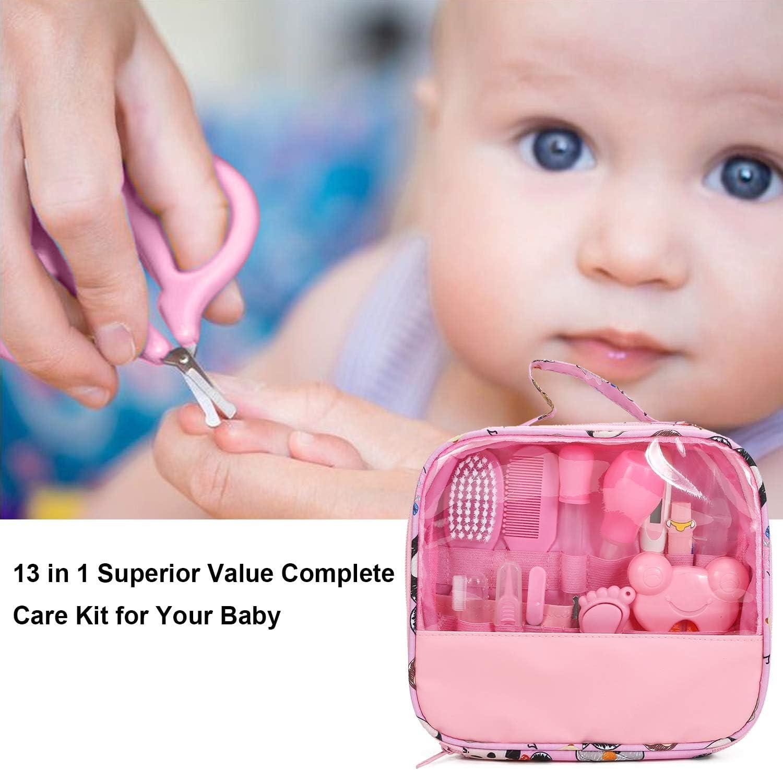 set de aseo para reci/én nacidos 14 piezas kit de cuidado del beb/é accesorios esenciales para el cuidado de la salud para viajar o uso dom/éstico rosa rosa Kit de cuidado diario del beb/é