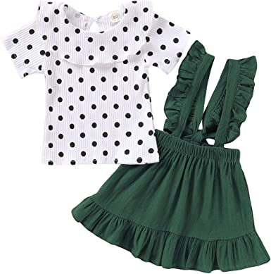 Baby Girl Ruffled Sleeve Shirt Tops Toddler Floral Suspender Skirt Set Dress 2Pcs Clothes Outfit