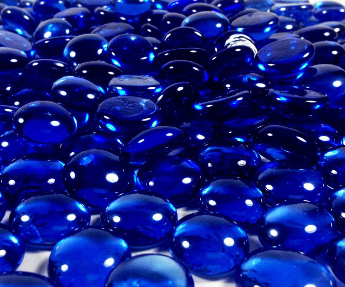 Safe & Non-Toxic {Large Size, 0.75'' Inch} 10 Pound Bag of Clear Gravel, Rocks & Stones Decor Made of Genuine Glass for Freshwater & Saltwater Aquarium w/ Oceanic Iridescent Deep Cobalt Style [Blue] by mySimple Products