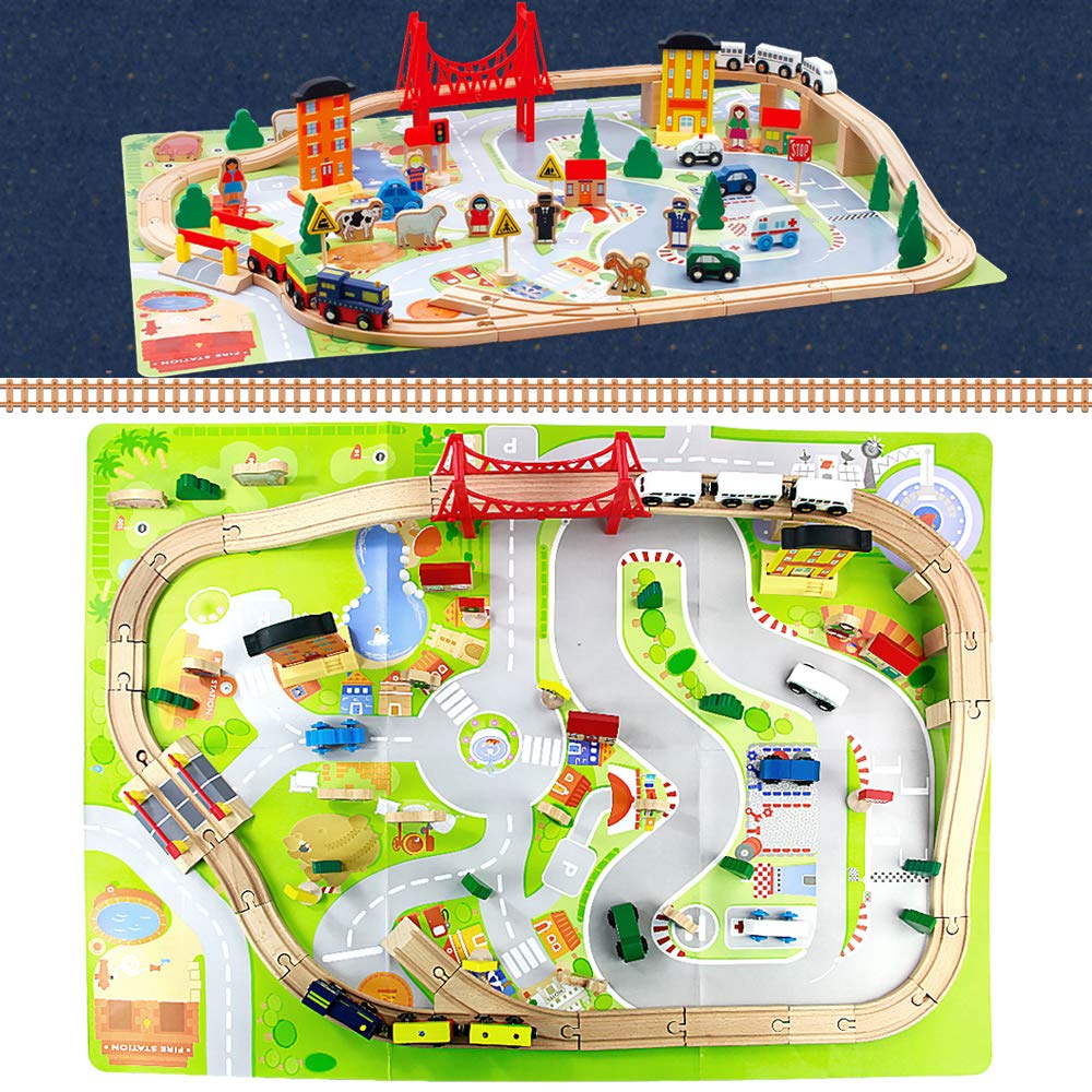 jerryvon Holzspielzeug Track Erste Eisenbahn Set Kinder Magnetische Verbindung Eisenbahnserienspielzeug Bateriebetriebene Lokomotive f/ür Kinder ab 3 4 5 Jahre