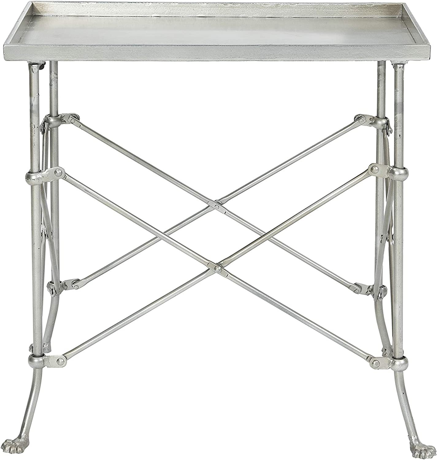 Silver accent table with rectangular tray top and folding style legs