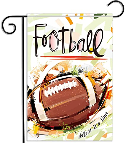 KooNicee Super Bowl Football Garden Flag - Weather Resistant Yard Banner  Home Decoration Sport Ball Outdoor Flag - 12 5x18 Inch Double Sided Garden