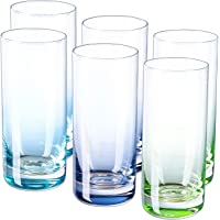 Vastto 13 Ounce Multicolor Highball Drinking Glass,Cylindrical Shape,for Water, Beverage,Juice, Wine,Beer and Cocktail…