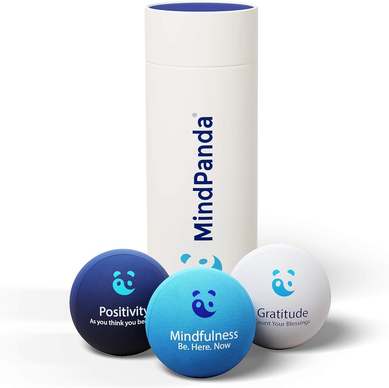 3x Bola para el estrés Mental & Corporal - ¡AROMATERAPIA & FRASES POSITIVAS! Gratis Mindfulness E-Book & ejercicios manuales fisioterapia incluidos. Juguetes antiestrés perfectos para adul