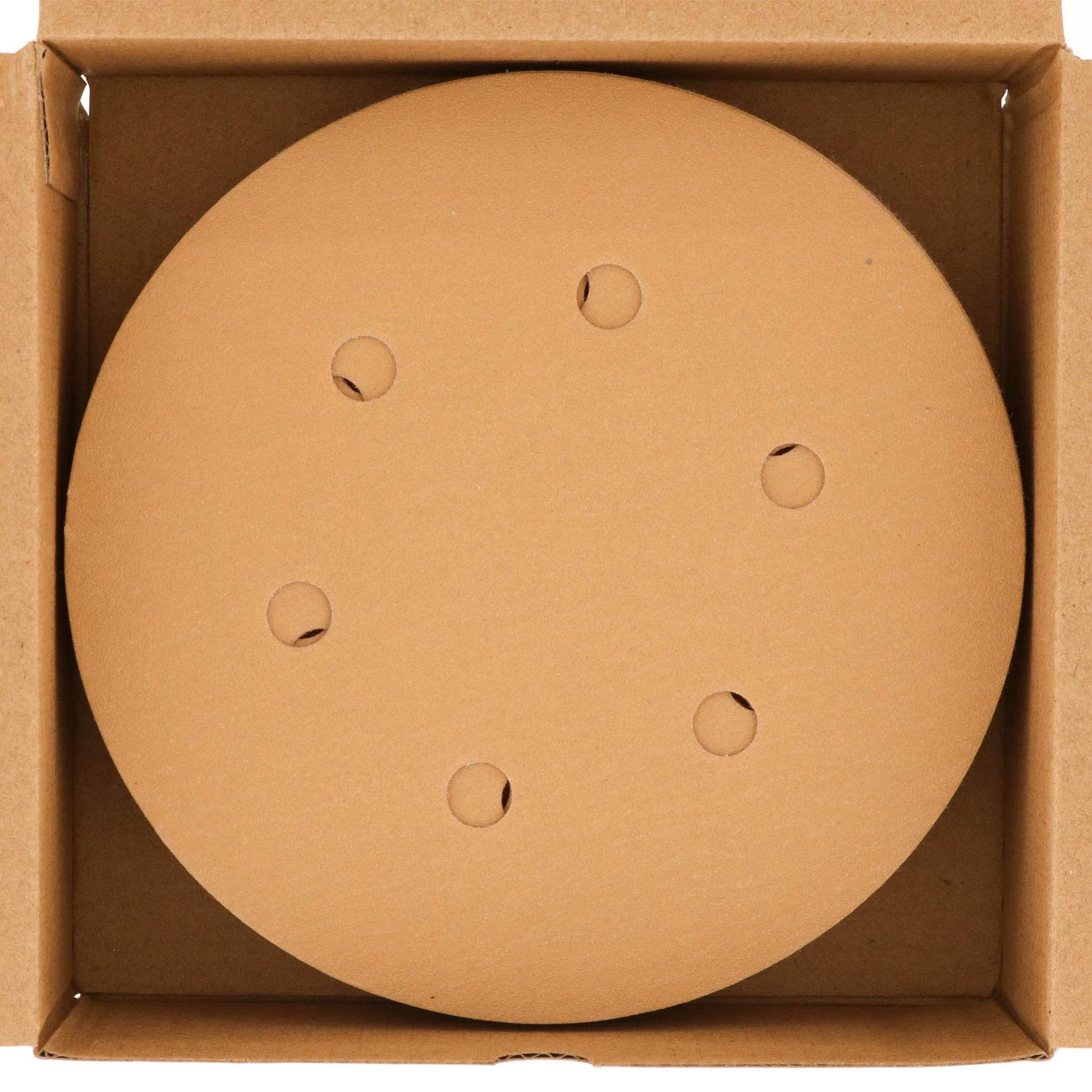 Box of 50 Sandpaper Finishing Discs for Automotive and Woodworking Dura-Gold Premium 120 Grit 6 Gold Hook /& Loop 6-Hole Sanding Discs for DA Sanders
