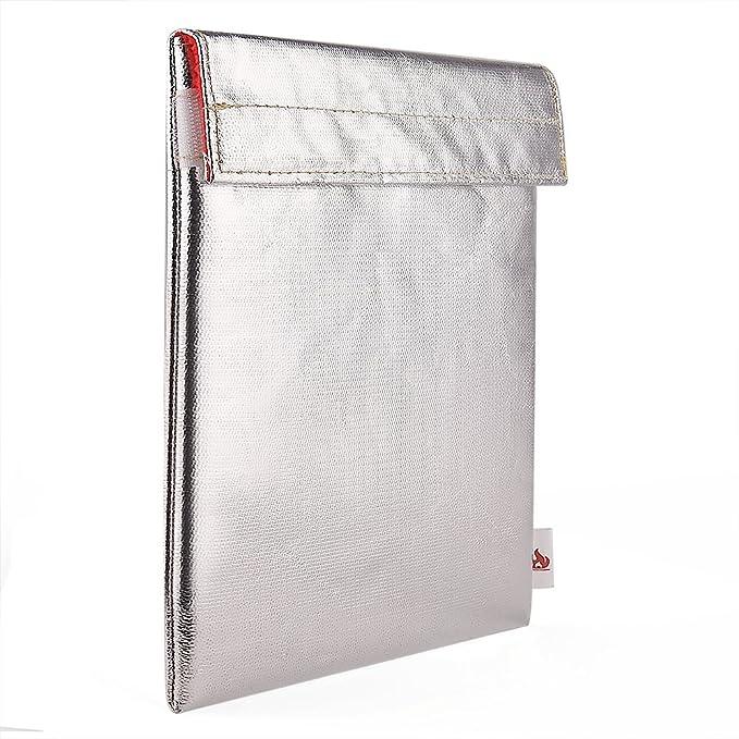 KUUQA Fibra de Vidrio sin Picazón Bolsa Resistente al Fuego del Document Funda de Prueba de Fuego Para Efectivo, Pasaportes, Fotos, 27.5 X 17.5cm: ...