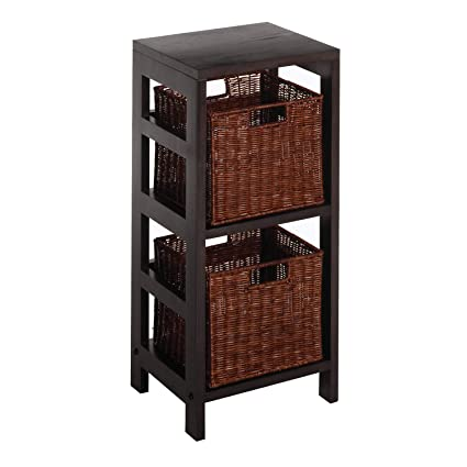 Winsome Wood Leo Wood 2 Tiered Shelf with 2 Rattan Baskets