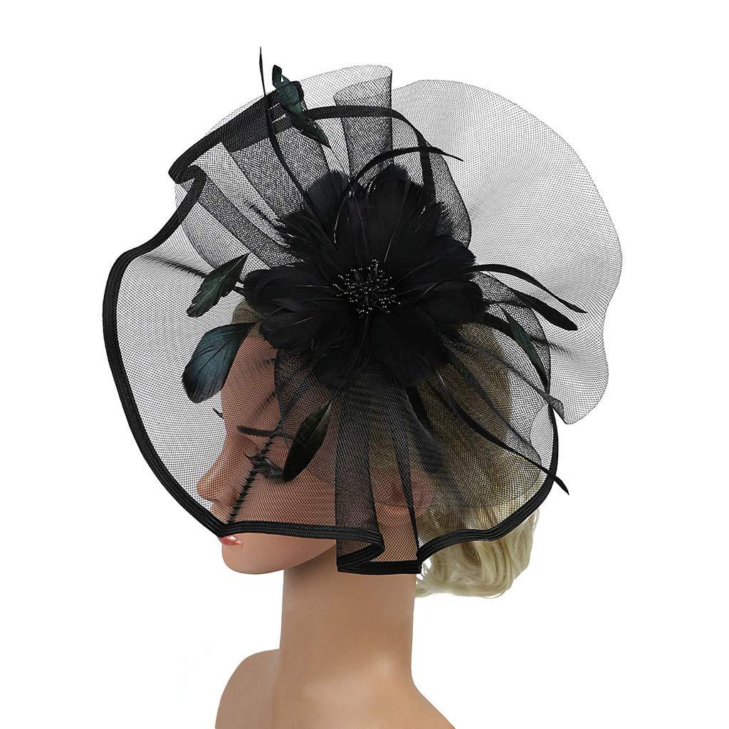 Kentucky Derby Fascinators for Women Sinamay Tea Party Hat Cocktail Headpiece Flower Mesh Feathers Headband Hat Black-AD by Merya Dress (Image #6)