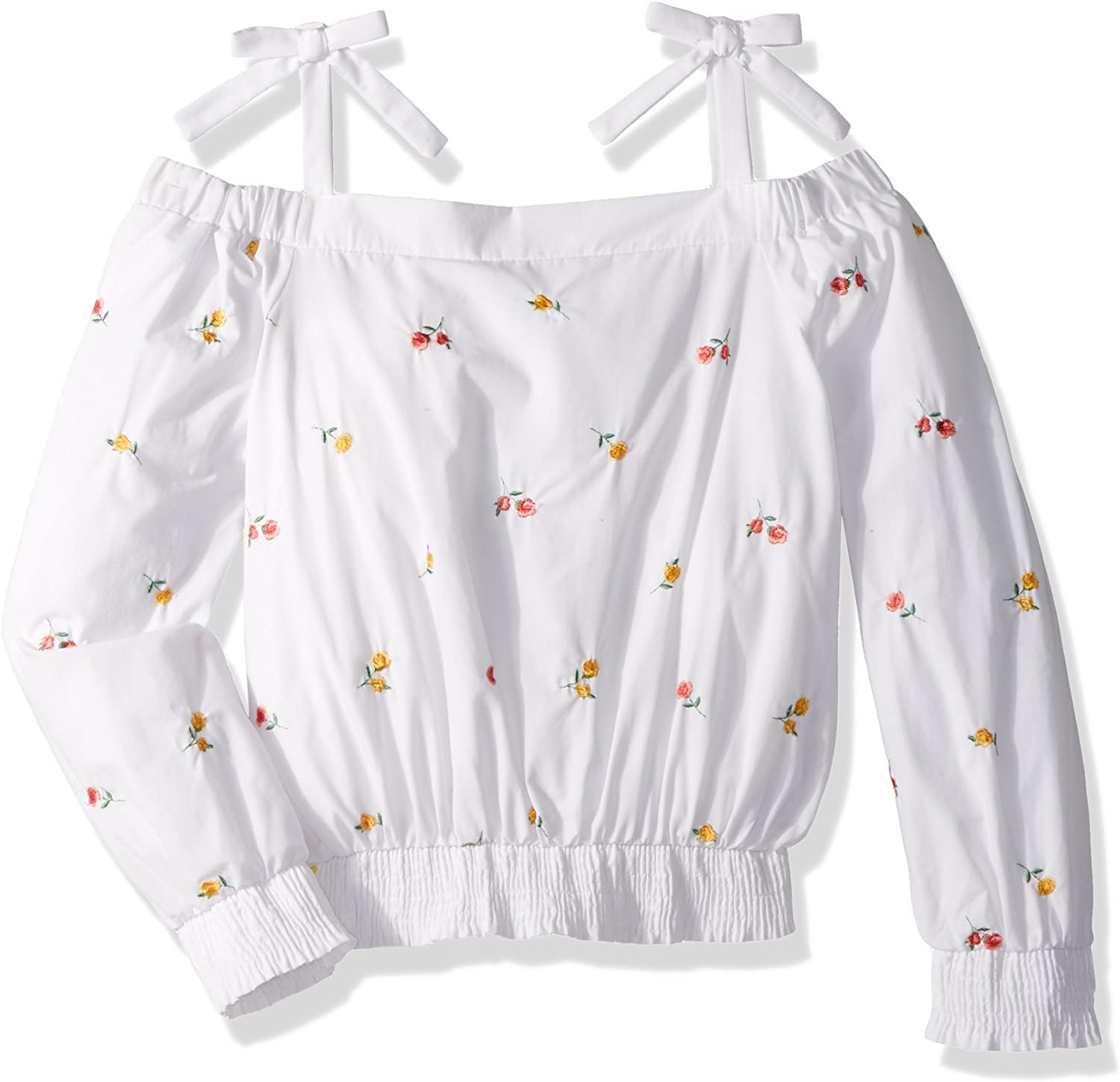 Maddie Girls Big Shoulder Top with Embroidery