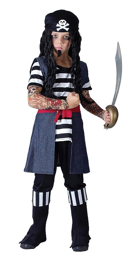 Bristol Novelty CC773 Traje Pirata Tatuado, Pequeño, Edad aprox 3 -5 años
