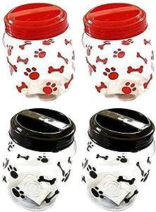 Greenbrier Pet Food Treats Plastic Storage Jars, Paws and Bones, Dogs and Cats, 4-jar Set
