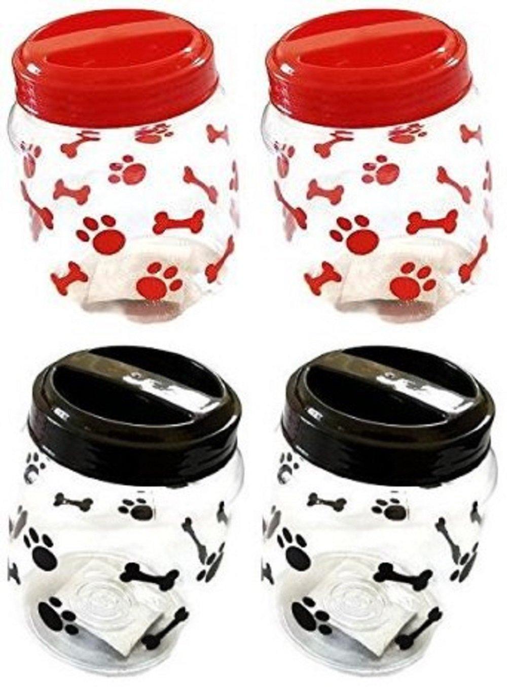 Pet Food Treats Plastic Storage Jars, Paws and Bones, Dogs and Cats, 4-jar Set