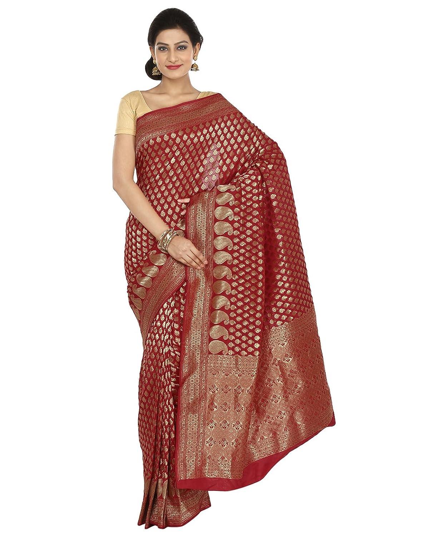 Indian Ethnic Art Banarasi Silk Red Banarasi saree
