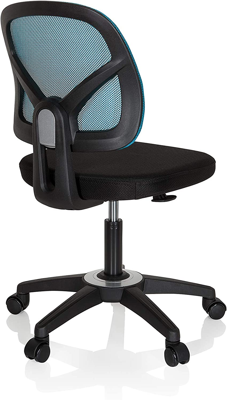 hjh OFFICE Kid YU 100 736408 Childrens Swivel Chair Mesh Black Turquoise Childrens Desk Chair Height Adjustable