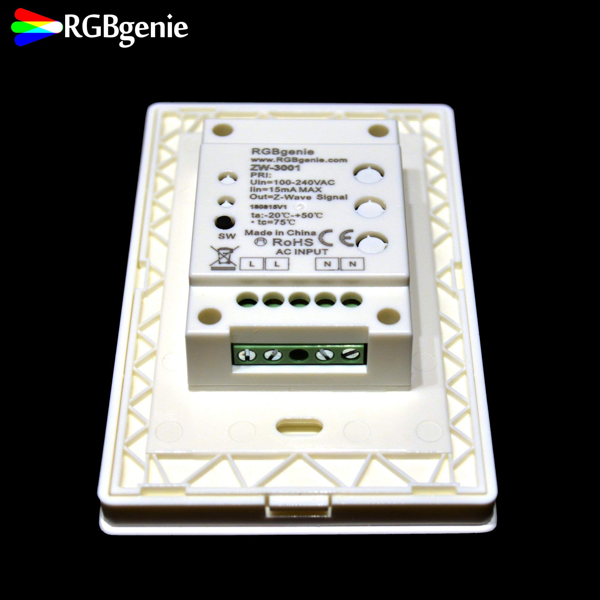 Z-Wave Touch Panel Controller and Dimmer with Built-in Repeater. Can control up to 12 Z-Wave strip lights or bulbs. Single Color, 3 Zone, 3 Scene recall, 110v input. RGBgenie ZW-3001 (white) by RGBgenie (Image #5)