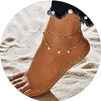 Simly - Tobillera de playa con perlas de imitación ajustable, para mujeres y niñas