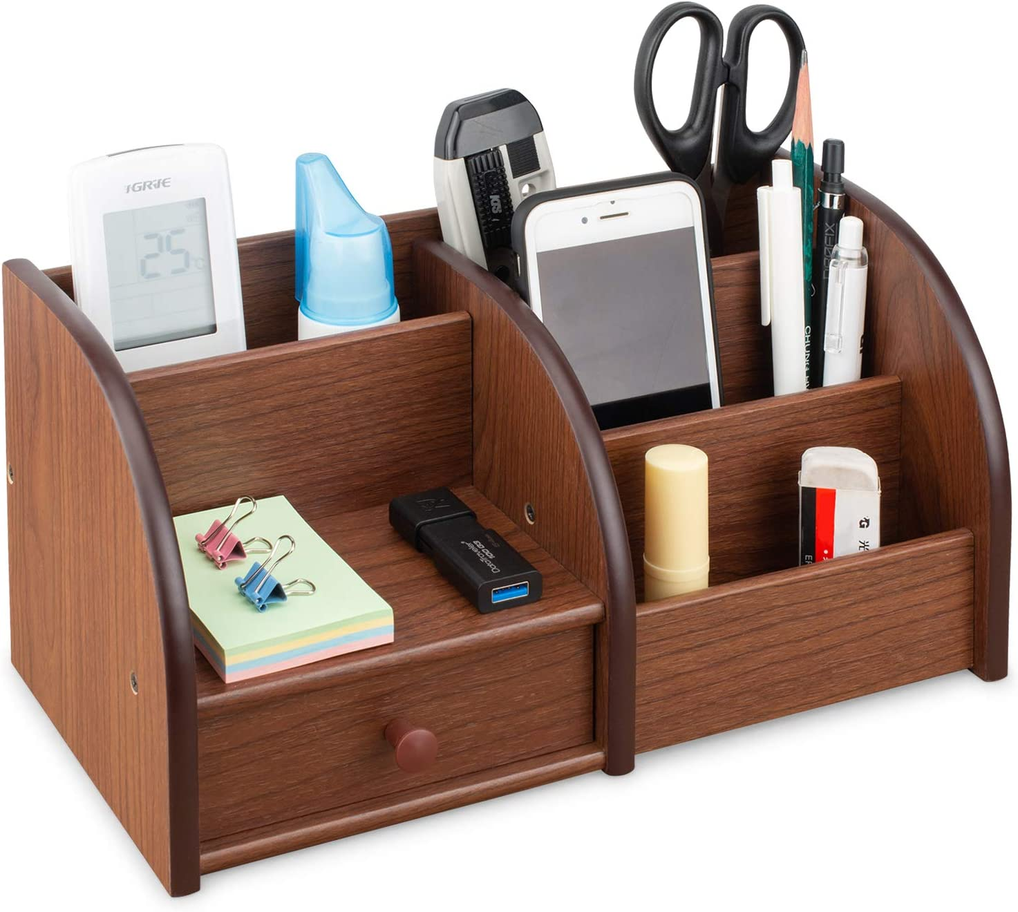 Tonsmile Wooden Office Stationery Desk Tidy Storage Organiser Holder for Pens, Pencils, Mobile Phones, and Remote Controls