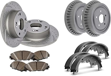 Front Drilled /& Slotted Geomet Rotors /& Semi MetPads Wolverine Shims