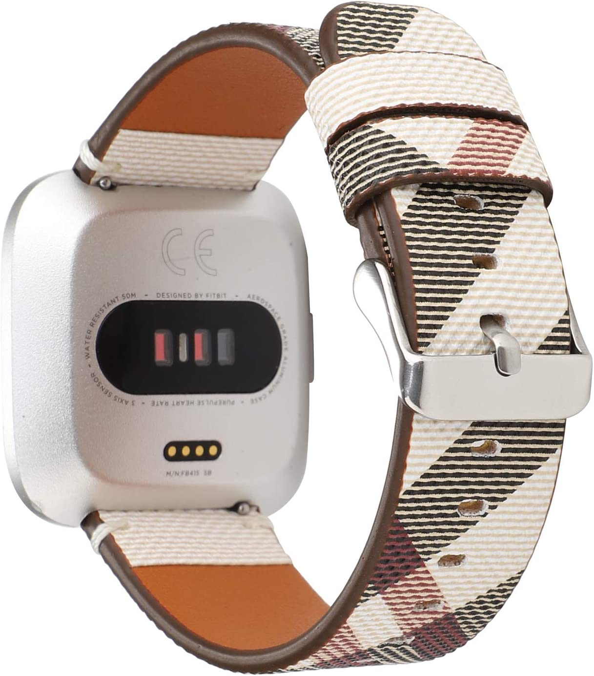 Bands for Fitbit Versa & Versa Lite/Versa 2, Jimbird PU Leather Replacement Bracelet Wrist Watch Band for Fitbit Versa Fitness Smart Watch (Stripe)