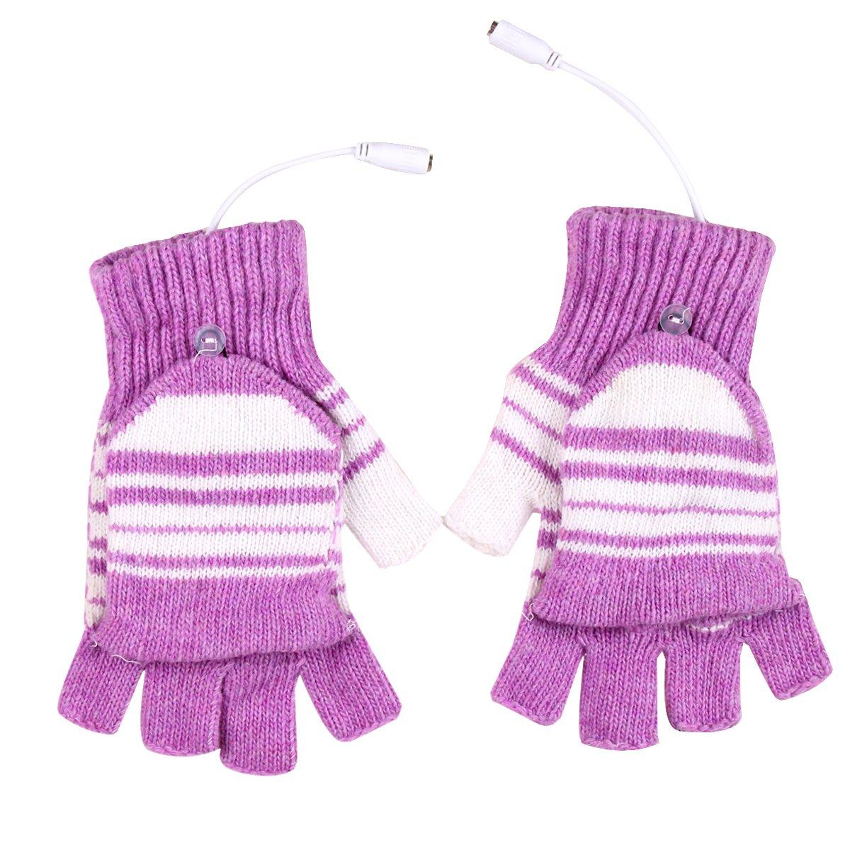 Sealike Unisex Stripe Fingerless USB Heated Gloves Hands Warmer Gloves