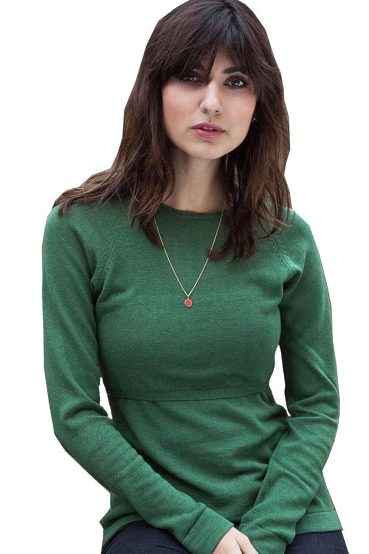 Milker Liva - Stillpullover Umstandspullover aus Wolle-Viskosestrick grün