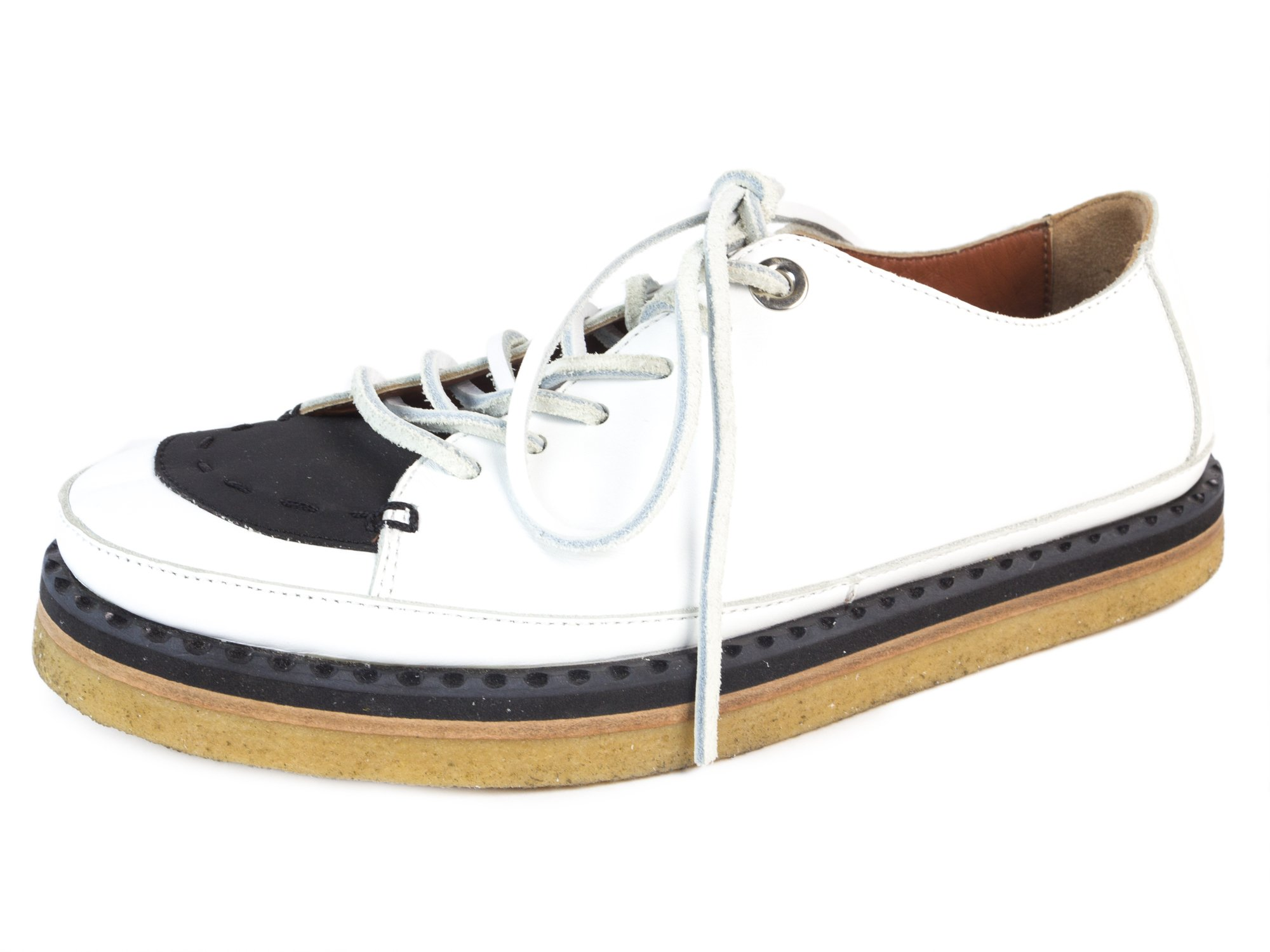 MaxMara Sportmax Women's Gessati Leather Gum Sole Sneakers US 7/IT 37 White