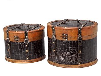 ea754ad9ece28 aubaho Vintage hat box set - unique 2 piece set in an antique style ...