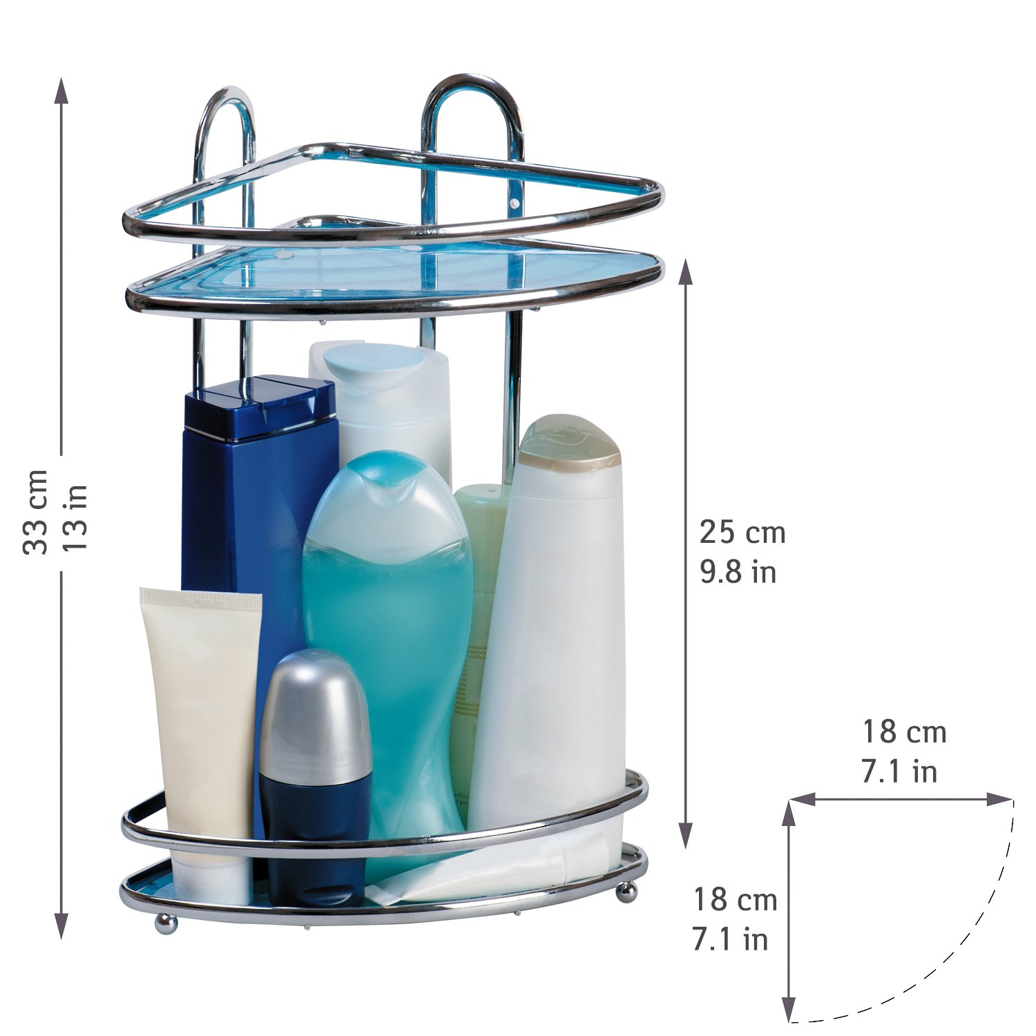 Tatkraft Kaiser Compact 2 Tier Corner Bathroom Rack Shower Caddy ...