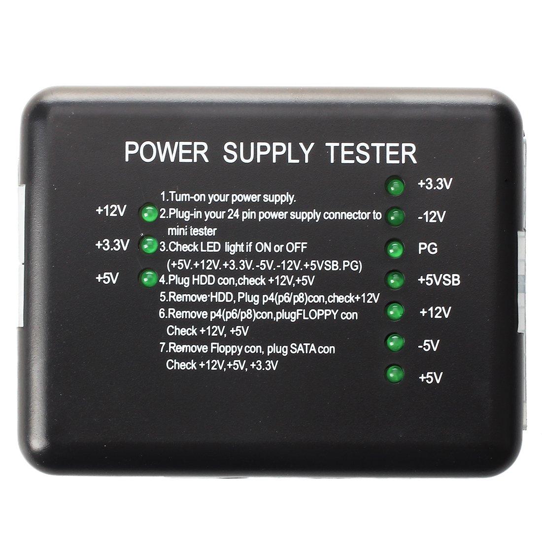 SODIAL(R) PC ATX SATA PSU HDD testeur d'alimentation Outil de diagnostic 022377
