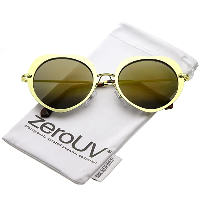 Women s Unique Thin Metal Arms Round Color Mirrored Lens Heart Sunglasses  54mm (Gold Gold 556b8c3fef