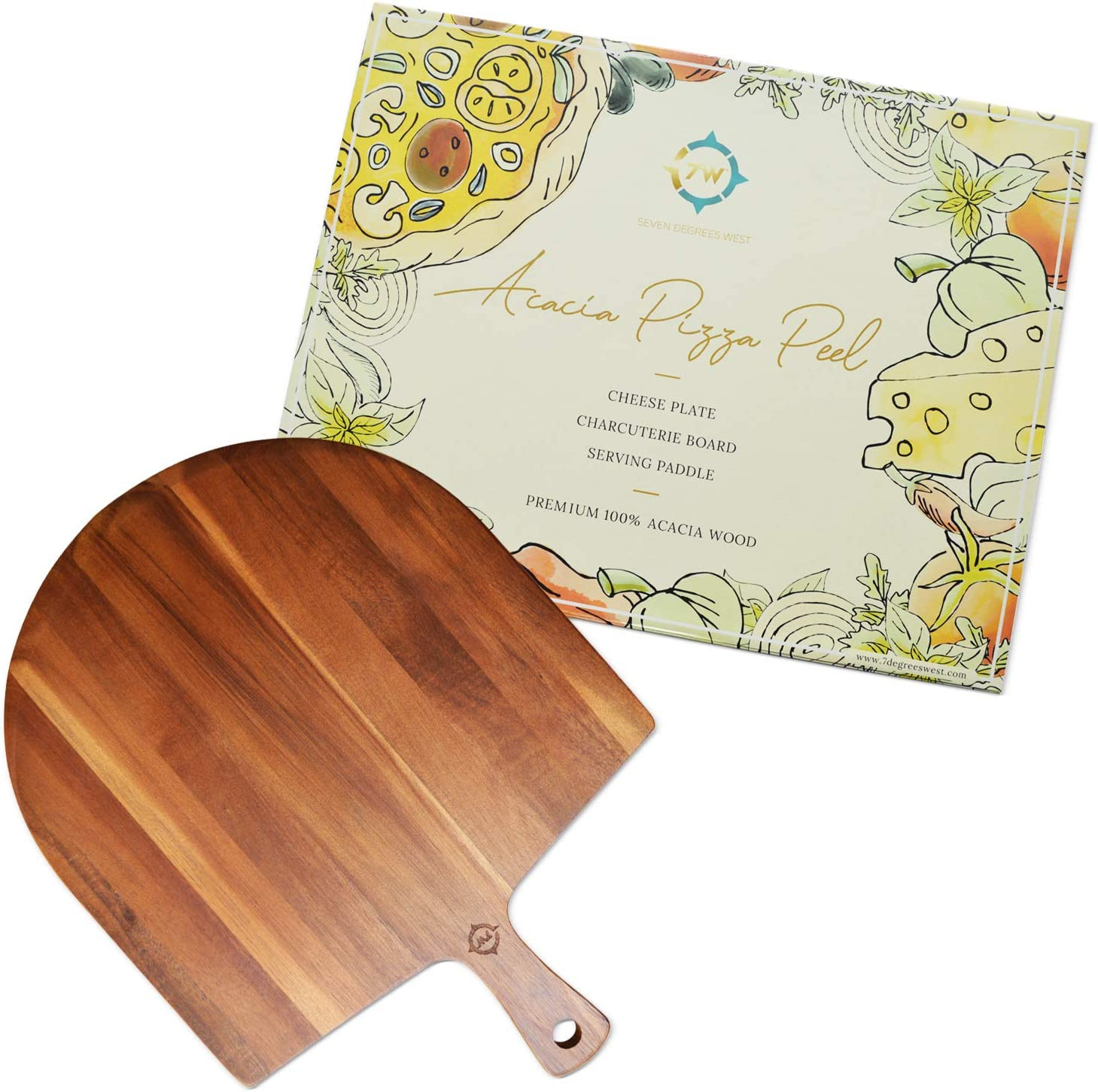 Acacia Wood Pizza Peel - Cheese, Fruit, or Crackers Tray - Charcuterie Board - Spatula for Baking - Farmhouse Wall Decor - Bread Board - Food Serving Plate - Great for Gifts