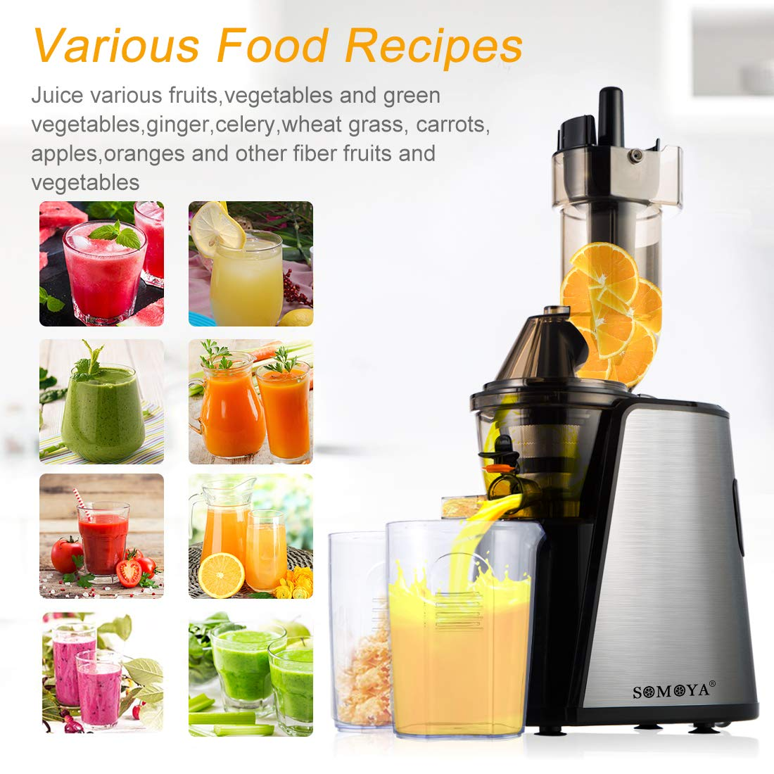 BPA-Free,Anti-drip,Non-slip feet Juicer Extractors Juicer SOMOYA 2019 Juicer/Electric Orange Juicer/Machines Easy to Clean,800W High Speed Stainless Steel Juicer Extract Fresh Vegetables and Fruits 110V 60Hz