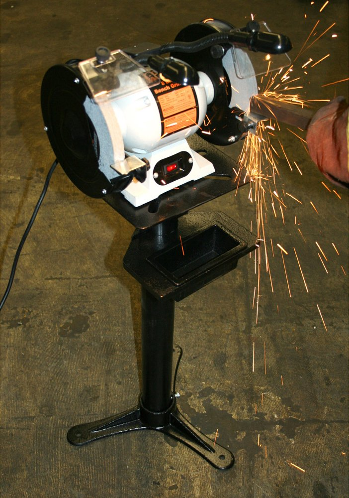 Offex Metal 8'' Heavy Duty 3550 RPM Bench Grinder with Lights - Silver by Offex (Image #2)