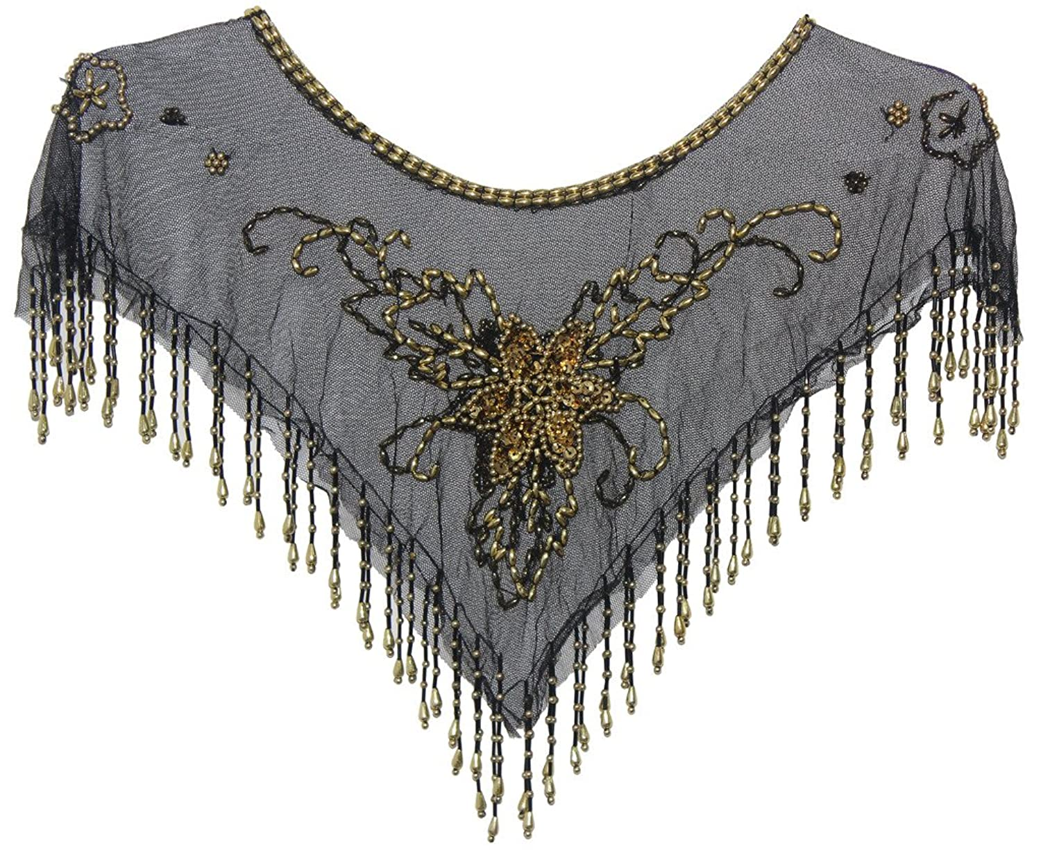 1920s Style Wraps  Beaded Mesh Shawl Dance Poncho Capelet $15.99 AT vintagedancer.com